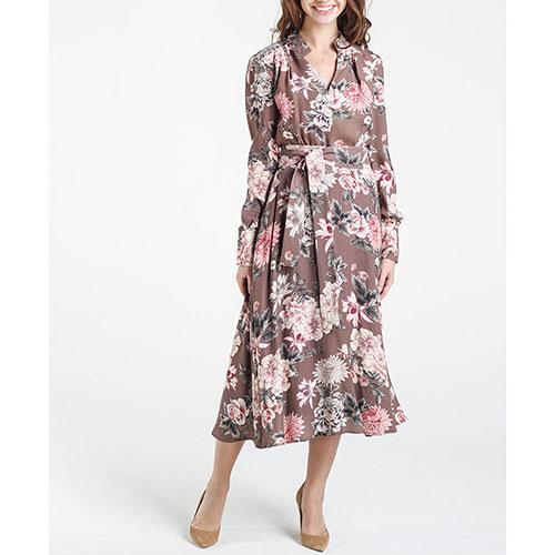 Коричневое платье Shako с пышной юбкой под пояс, фото