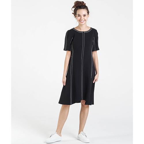 Черное платье Shako с коротким рукавом, фото