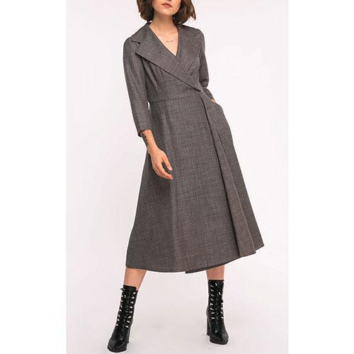 Платье-миди Shako коричневое на запах, фото