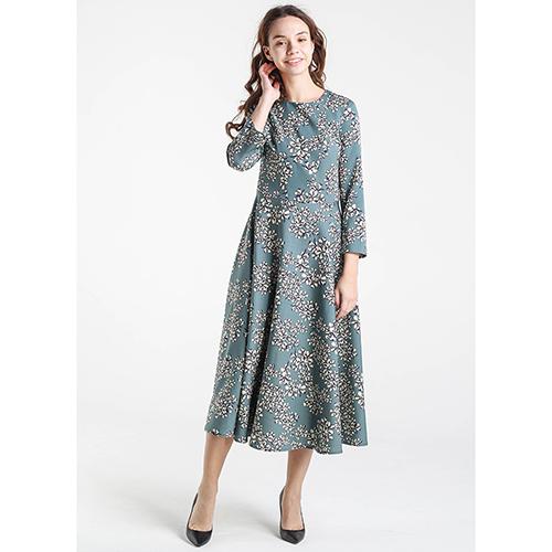 Платье-миди Shako бирюзового цвета с цветочным принтом, фото