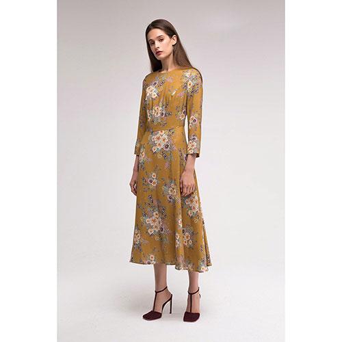 Горчичное платье Shako с цветочным принтом, фото