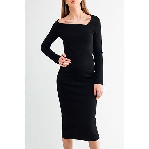 Черное платье Oscar De La Renta с длинным рукавом, фото