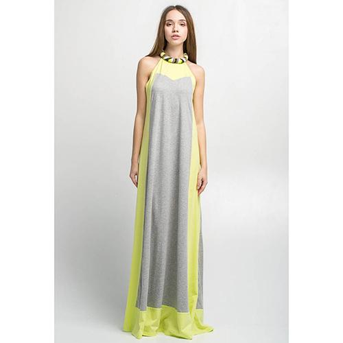 Длинное платье Emma&Gaia серое с салатовым, фото