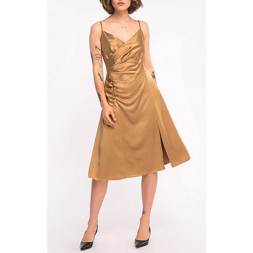 Платье Shako золотистое на тонких бретельках, фото