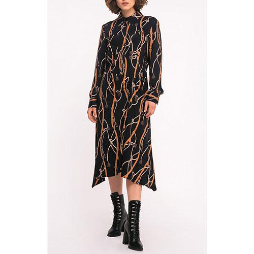 Черное платье Shako с принтом-ремешками, фото