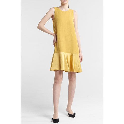 Горчичное платье Twin-Set до колен, фото