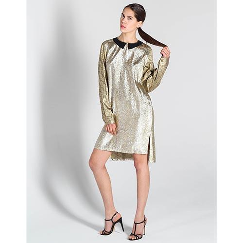 Платье Stella McCartney золотистого цвета прямого кроя, фото