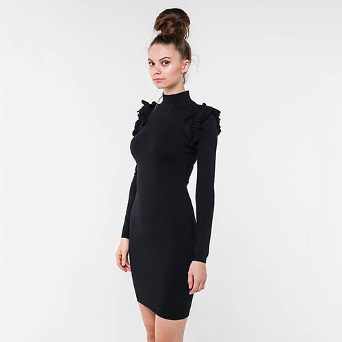 Черное платье-футляр Marciano с рюшами, фото