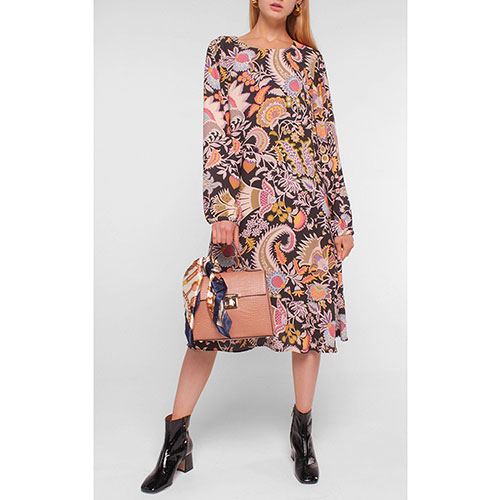 Платье-миди Luisa Cerano черное с принтом, фото