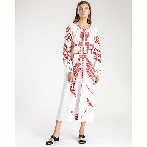 Белое платье Etnodim Borodina с геометрической вышивкой, фото