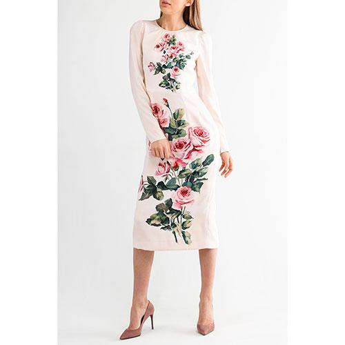Платье миди Dolce&Gabbana с принтом-розами, фото