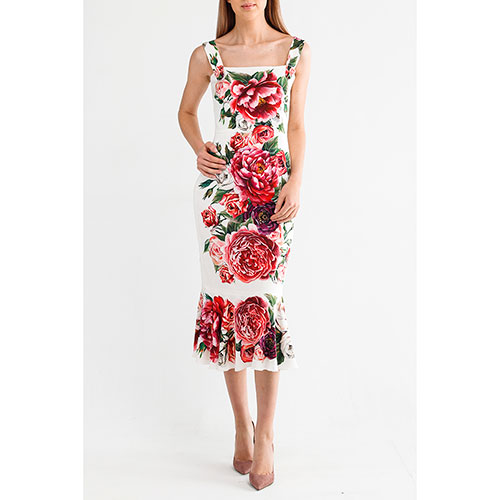 Платье миди Dolce&Gabbana с пионами и розами, фото