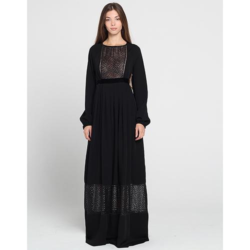 Черное платье в пол Blugirl Blumarine с полупрозрачными кружевными вставками, фото