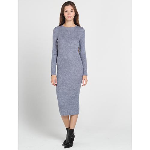 4a9b452b251 ☆ Трикотажное облегающее платье-миди Nit.ka серого цвета купить в ...