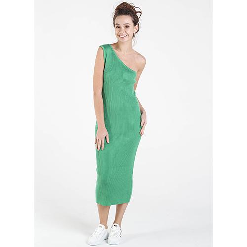 e69c56d7a92 ☆ Вязаное платье-футляр Nit.ka на одно плечо зеленого цвета купить ...