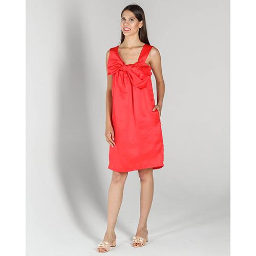 Шелковое красное платье P.A.R.O.S.H. с объемным бантом, фото