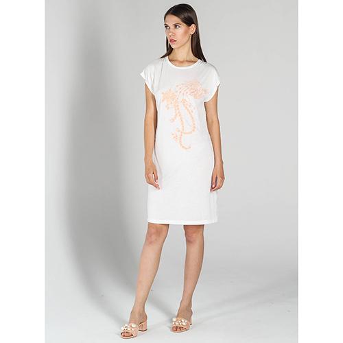 e3b9361e249 ☆ Белое платье-футболка P.A.R.O.S.H. с вышивкой пайетками купить в ...