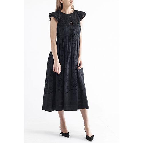 Черное платье-миди Red Valentino с коротким рукавом, фото