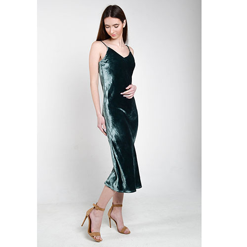 a2d99a9b1f6 Бархатное платье The Body Wear зеленого цвета на бретельках-завязках