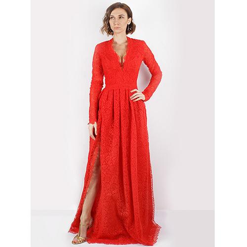 Красное кружевное платье Ermanno Scervino с разрезом, фото