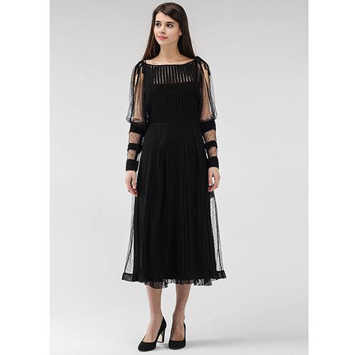 b6f265e45c3 ☆ Черное платье-миди Red Valentino с прозрачными рукавами купить в ...