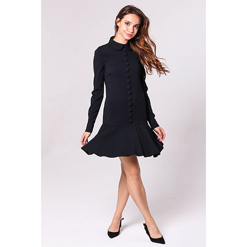Черное платье Red Valentino с декором-пуговицами, фото