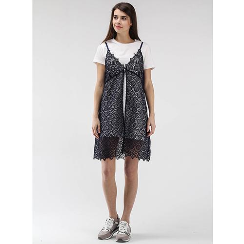 Платье Ermanno Scervino белое с кружевной черной накидкой, фото