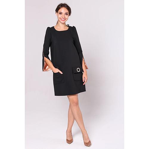 Черное платье Elisabetta Franchi с расклешенными рукавами, фото