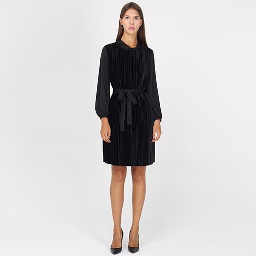 ☆ Платье Armani Jeans из велюра черного цвета с поясом tol-od-441 ... ed121321b97