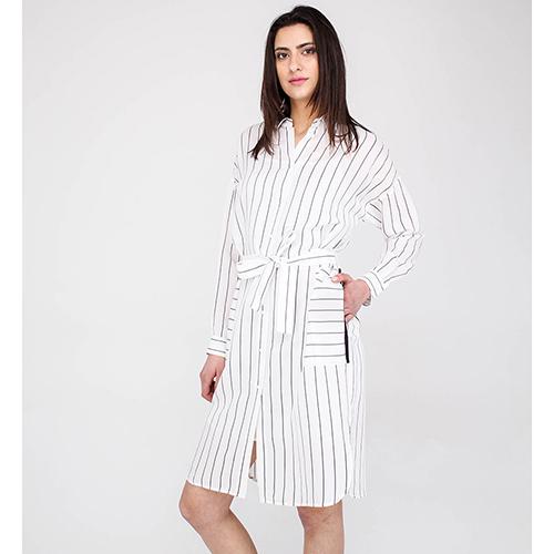 Полосатое платье-рубашка Peserico с накладными карманами, фото