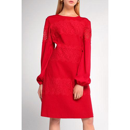 Красное платье Twin-Set с декором-кружевом, фото