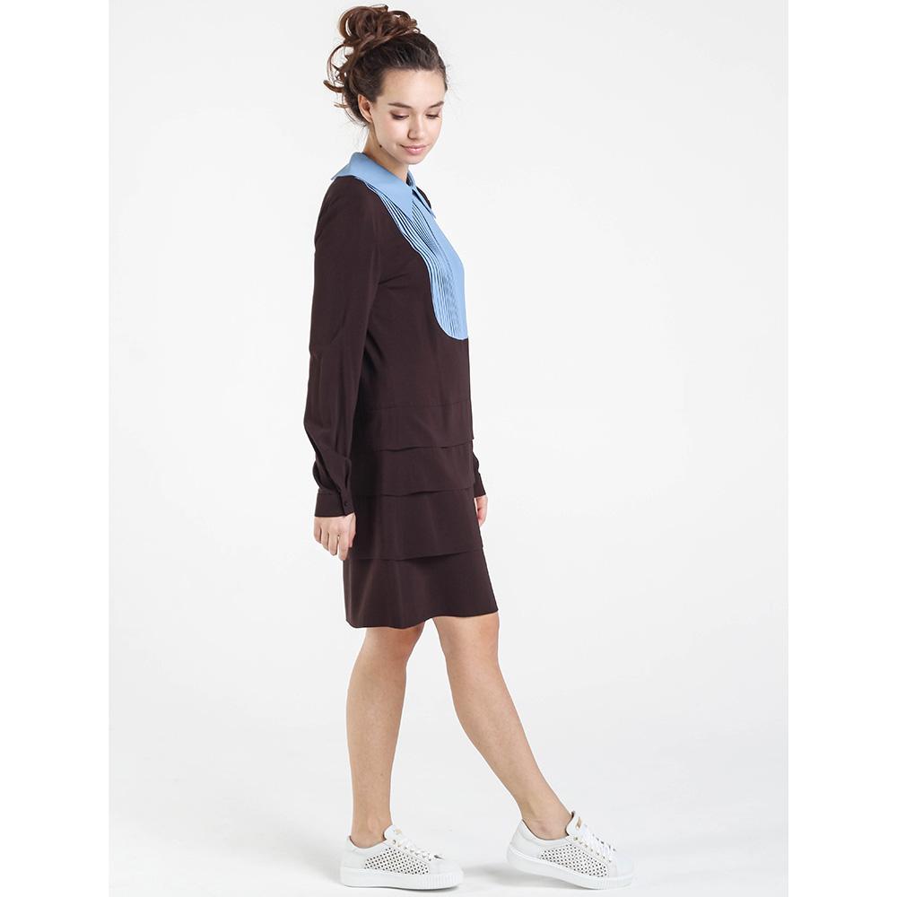Коричневое платье Shako с длинным рукавом