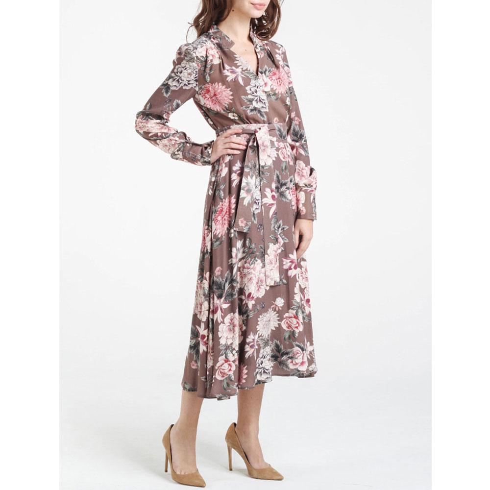 Коричневое платье Shako с пышной юбкой под пояс