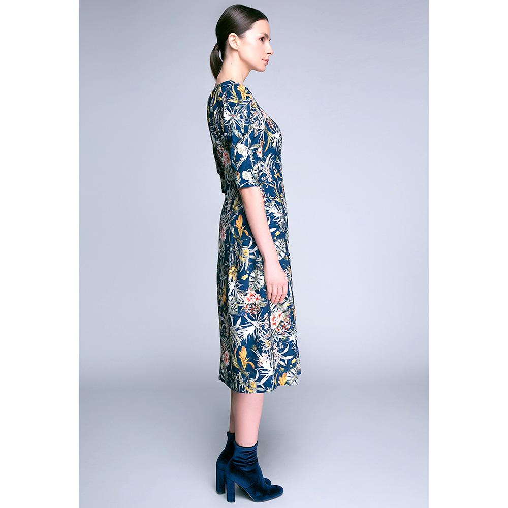 Платье-миди Shako синего цвета с пышной юбкой