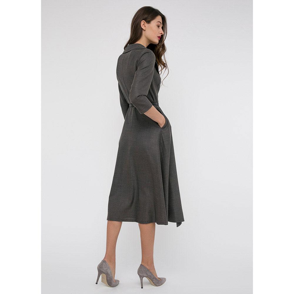Серое платье Shako с широкими лацканами