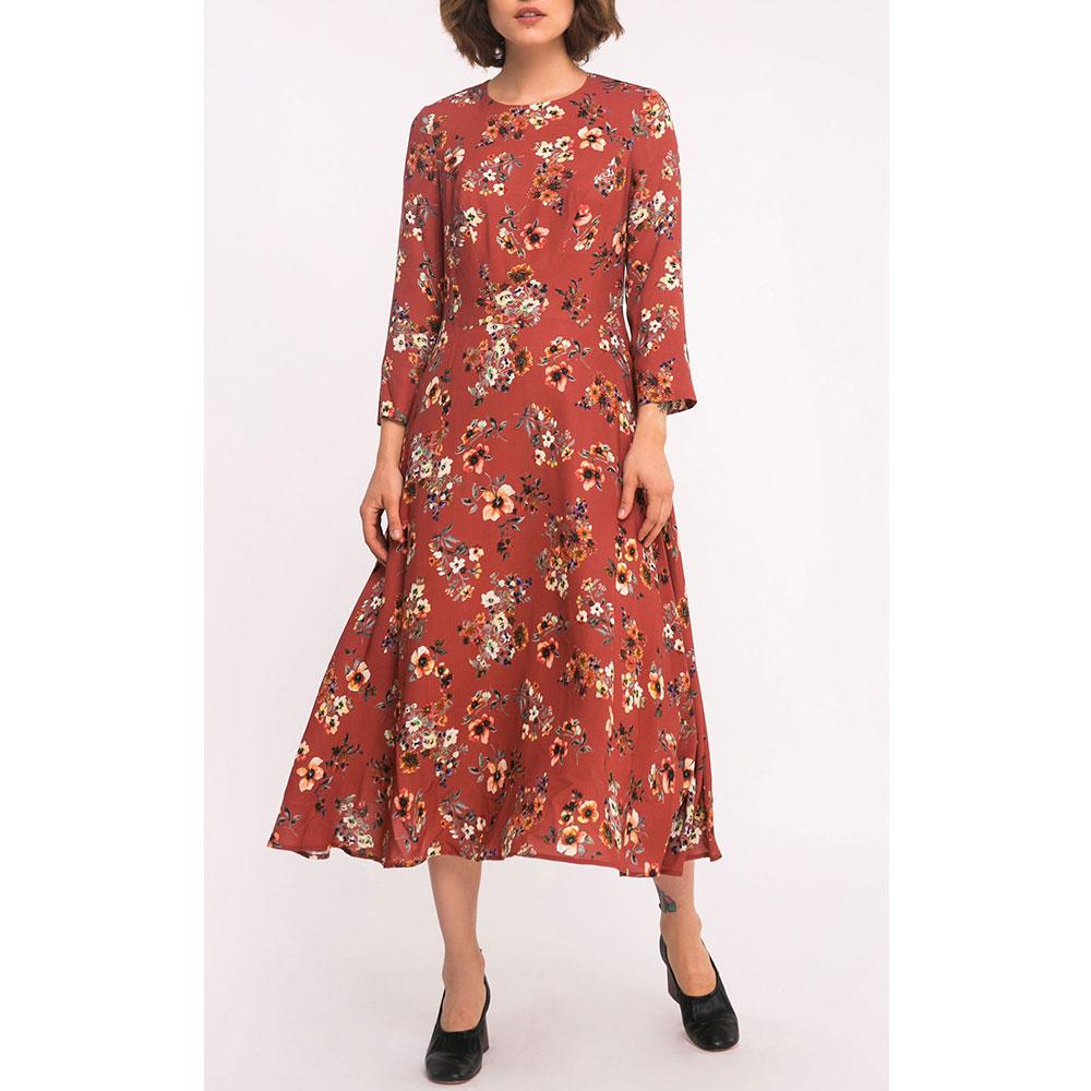 Красное платье-миди Shako с цветочным принтом