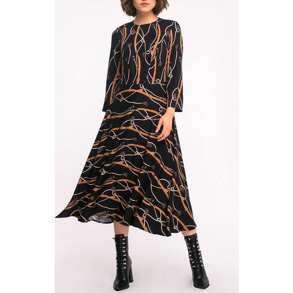 Повседневное платье Shako с принтом черного цвета