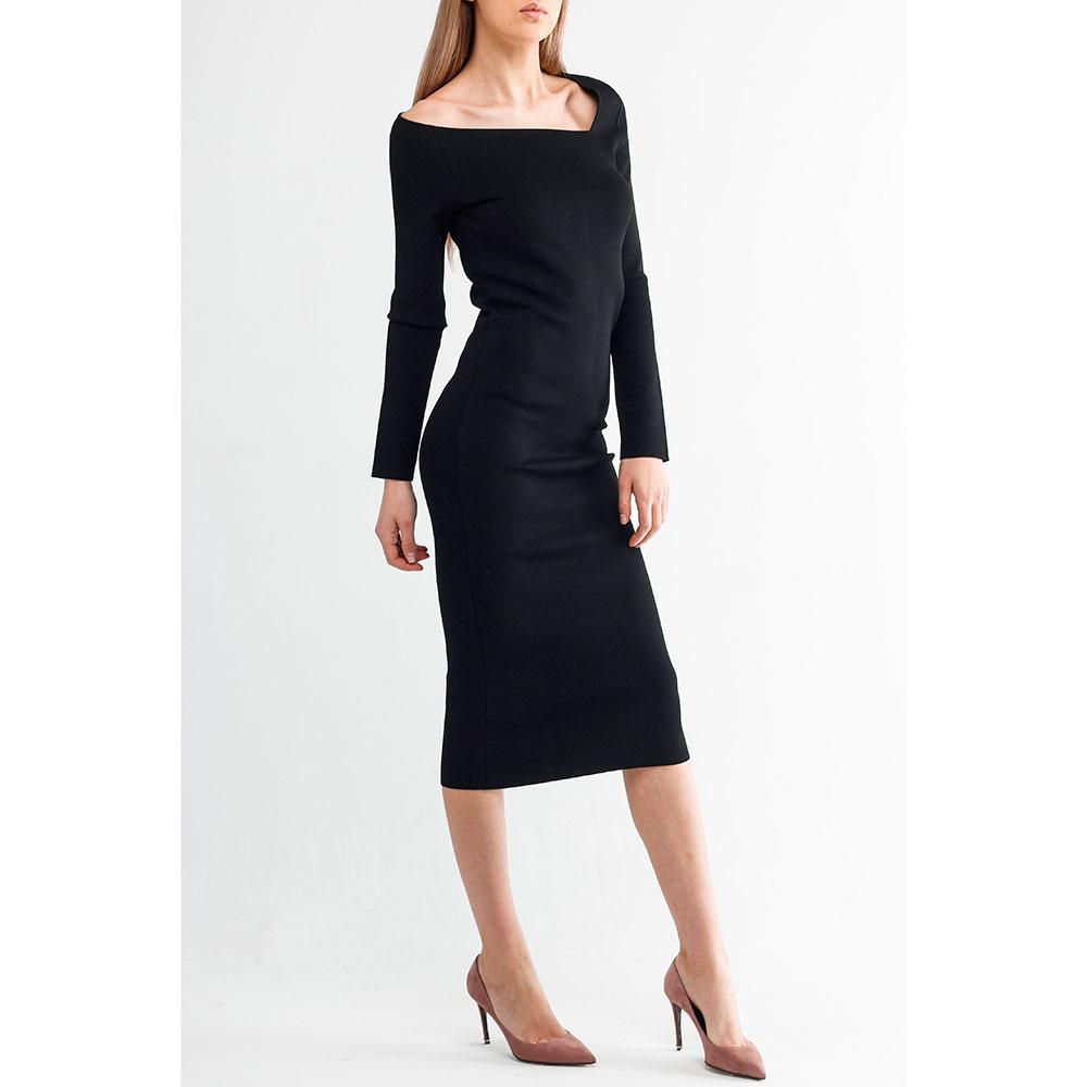 Черное платье Oscar De La Renta с длинным рукавом