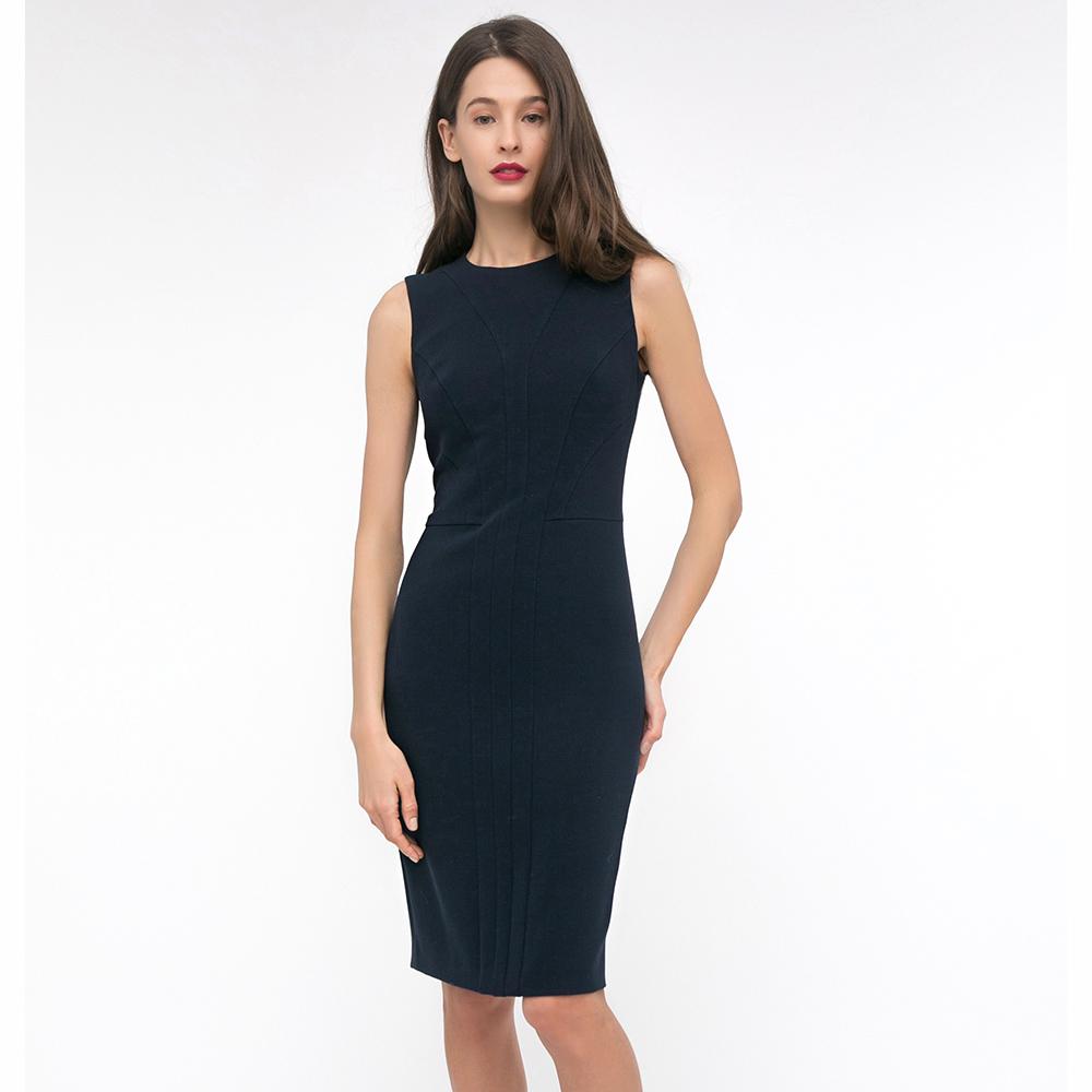 Платье-футляр Shako синего цвета без рукавов
