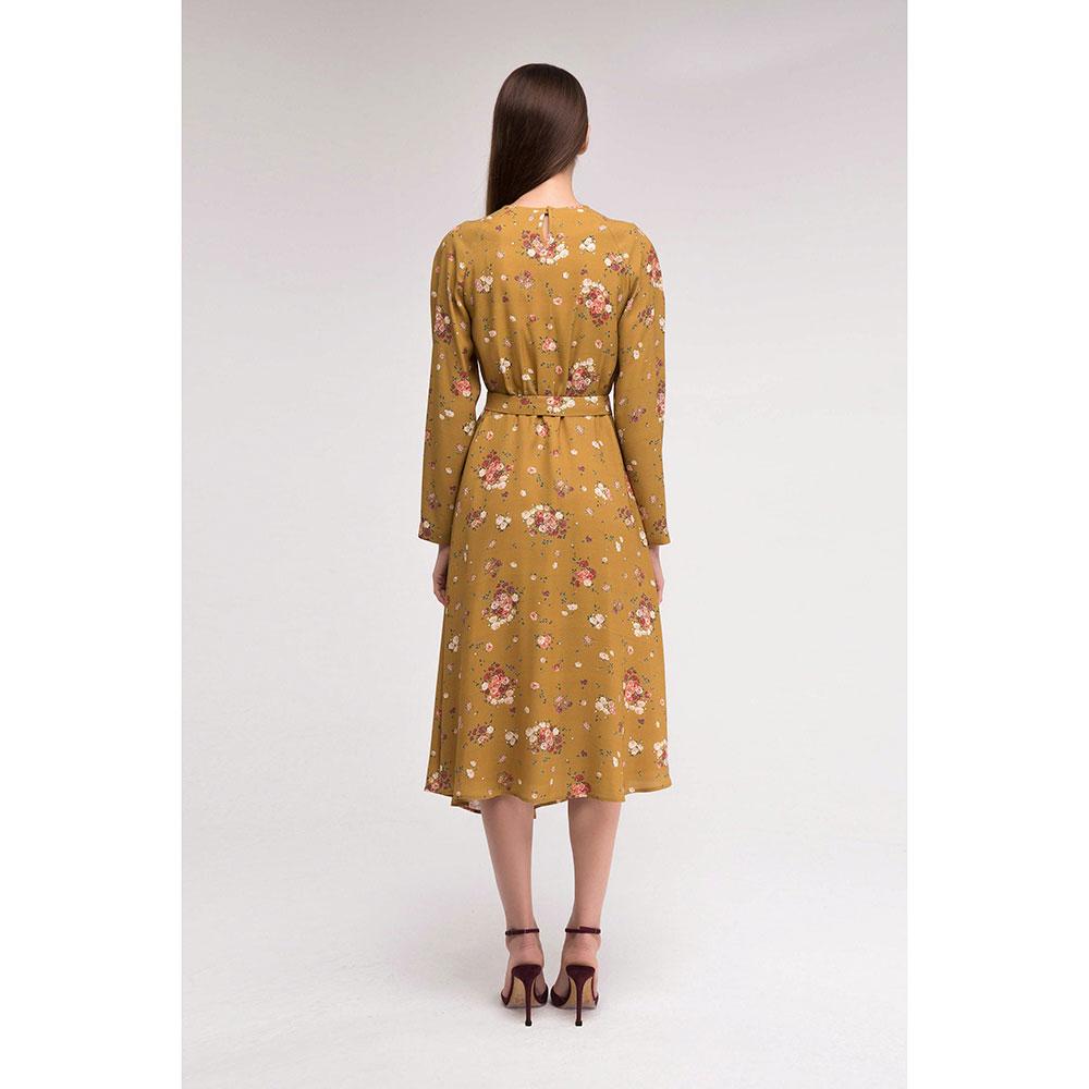 Горчичное платье Shako с асимметричной юбкой