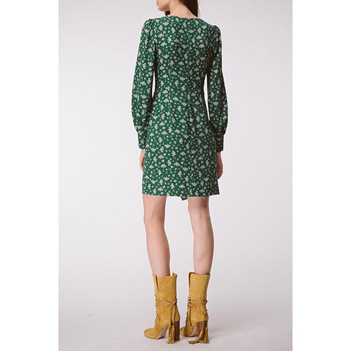 Платье с драпировкой Shako зеленое в белые цветы