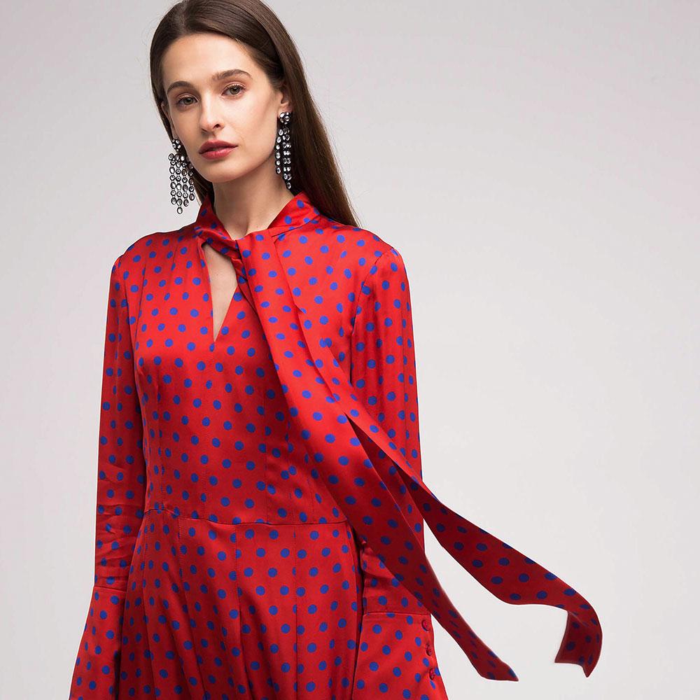 Красное платье Shako в горошок