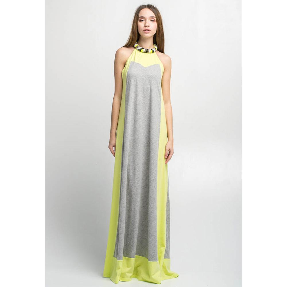 Длинное платье Emma&Gaia серое с салатовым