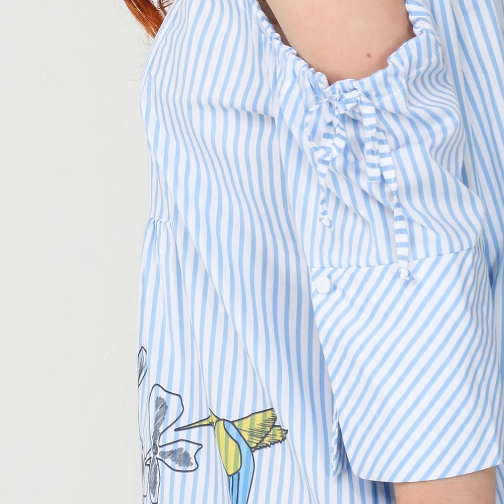 Платье-рубашка Emma&Gaia голубого цвета в полоску