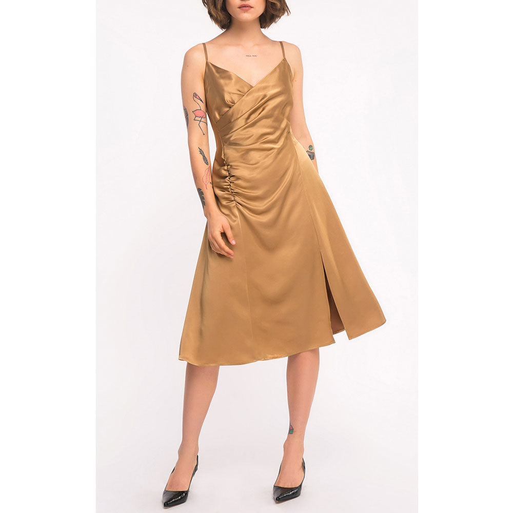 Платье Shako золотистое на тонких бретельках