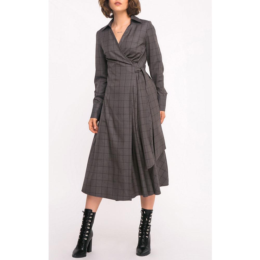 Платье-рубашка Shako в клетку серого цвета