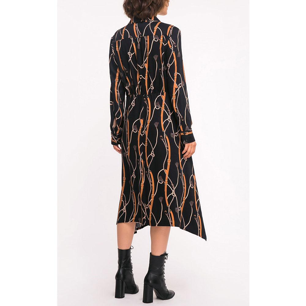 Черное платье Shako с принтом-ремешками