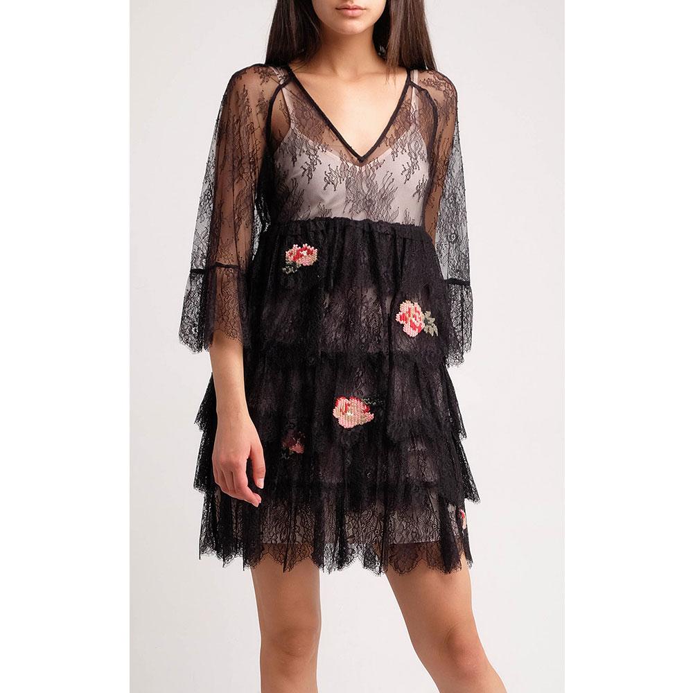 Кружевное мини-платье Twin-Set с вышивкой-розами