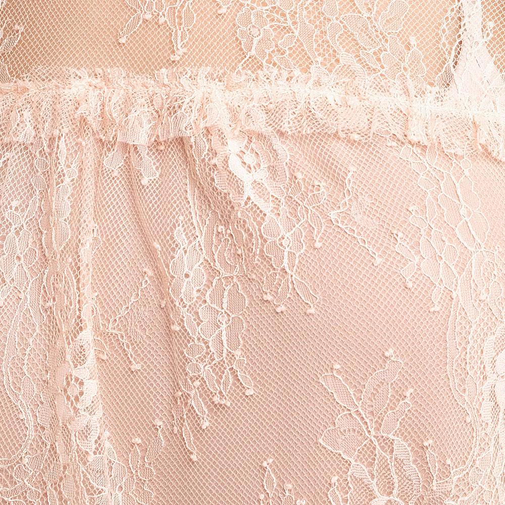 Кружевное платье Twin-Set пудрового цвета с вышивкой