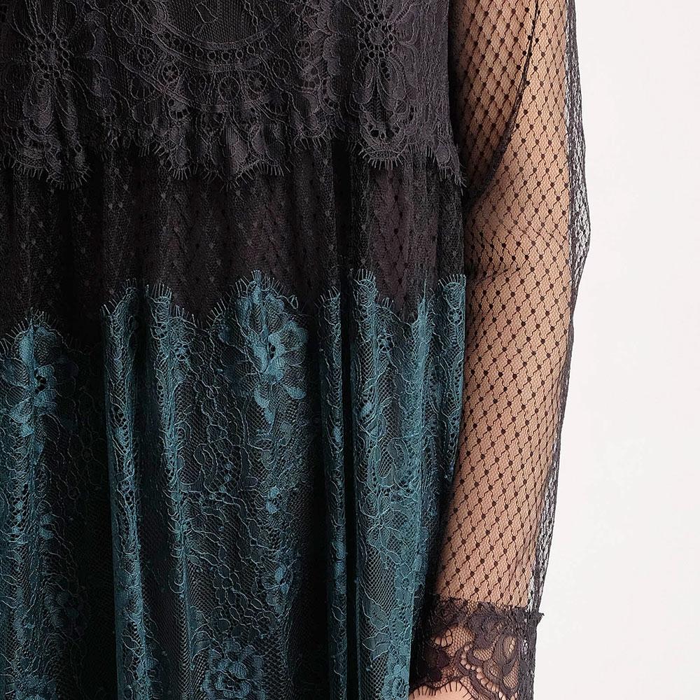 Кружевное платье Twin-Set с длинным рукавом-сеткой